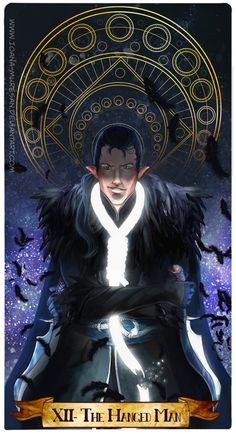 Vax'ildan Tarot Card - The Hanged Man - - Love that Vax's own life-thread is the noose. Critical Role Characters, Critical Role Fan Art, D D Characters, Character Concept, Character Design, The Hanged Man, Vox Machina, Mascot Design, Letters