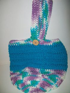 Turquoise and purple round bottom crocheted bucket by gladetopshop