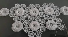 This Pin was discovered by HUZ Cotton Crochet, Irish Crochet, Crochet Motif, Crochet Doilies, Crochet Flowers, Crochet Table Runner, Crochet Ornaments, Wedding Fabric, Crochet Home