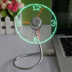DDU(TM) 1 Stück USB LED Ventilator Uhr Büro Schreibtisch Gadget mit einstellbarem flexiblem Schwanenhals