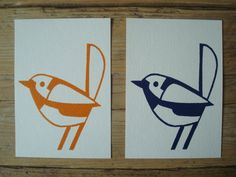 Single cards with an original lino print of a little Pretty Bird! The Birds are available in blue and orange (in stock now), but let me know if you would prefer another colour or a larger quantity. This can be done! The cards are printed on 100% acid-free paper (250 gr/m2) and