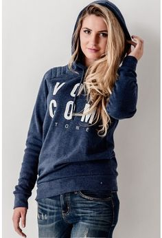 Volcom Stone Hoodie // A navy blue super soft hoodie by Volcom women's that features a quilted pattern at the shoulder. We're pairing it with our favorite distressed jeans and a casual slip on shoe. // bohme.com