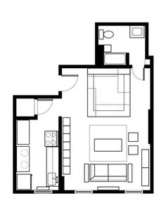 Layout of loft bed apartment. Studio Apt, Studio Living, Apartment Floor Plans, Tiny Apartments, Small Places, Small Space Living, Living Spaces, Apartment Therapy, House Plans