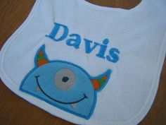 Hey, I found this really awesome Etsy listing at https://www.etsy.com/listing/158982963/personalized-monster-bib-monster