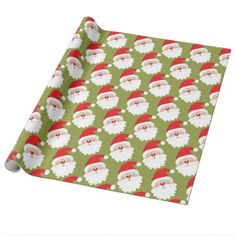 Santa Claus face Wrapping Paper - paper gifts presents gift idea customize Color Style, Red Style, Green Wrapping Paper, Face Wrap, Paper Gifts, Paper Paper, Present Gift, Family Kids, Merry Xmas