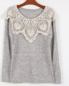 Scoop Neck Lace Embellished Long Sleeves Casual Cotton shirt $12.42