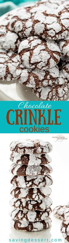 Chocolate Crinkle Cookies are puffy and soft, with a deep, rich chocolaty flavor, and they're so darn pretty too! These are no less than chocolate cookie perfection and great served any time of year.