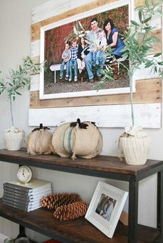Grand Design: Love the frame and Burlap pumpkins.and that industrial/rustic shelf!
