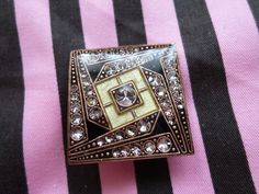 NOW SOLD! Chanille Pewter & copper enamel & resin brooch in Black & Sage set with Swarovski Crystals, £12.95