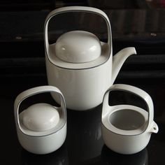 Rosenthal Studio Linie Continental Kaari Grey Tea Pot Set Creamer Sugar 1981 #RosenthalStudioLinie