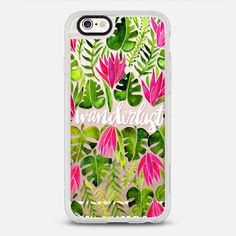 Tropical Wanderlust – Pink & Lime on Transparent - New Standard Case in Clear and Clear by @catcoq   @casetify
