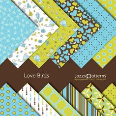 Love Birds digital scrapbooking paper pack DP016 instant download