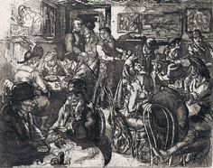 John French Sloan Hell Hole, 1917 Etching and aquatint on laid paper, state of 2 8 x 10 inches - Available at 2018 November 13 Century. Charles Demuth, Ashcan School, Dorothy Day, Dance Of Death, Alexander The Great, Religious Art, Art Fair, American Artists, Dark Art
