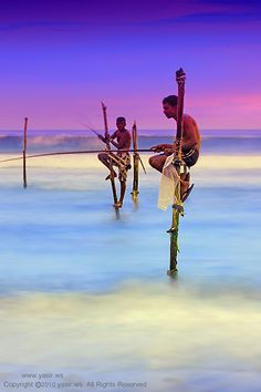 Sri Lanka Stick Fishermen fish from a stilt that is placed in the water in that same position and handed down from generation to generation.