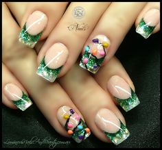 christmas nail art design ideas green and - Best Christmas Nail Design Ideas