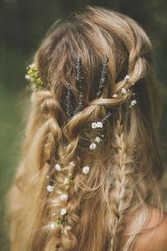 Rustic Meets Rock n Roll Woodland Barn Wedding with a Woodland Fairy Bride Fairy Wedding Dress, Fairy Dress, Boho Wedding Hair, Woodland Fairy Costume, Woodland Fairy Makeup, Fairy Costumes, Hair Inspo, Hair Inspiration, Moda Boho