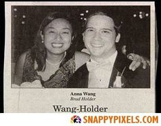 Wang-Holder - Wedding Announcements From Couples With Deeply Unfortunate Names Wedding Fail, Wedding Humor, Wedding Stuff, Dream Wedding, Funny Names, Funny Signs, Worst Wedding Photos, Wedding Pictures, Photo Fails