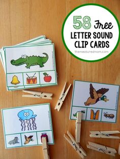 58 FREE letter sound clip cards. I love that these cards require kids to listen to sounds instead of trying to match letters. Great for those pre-readers.