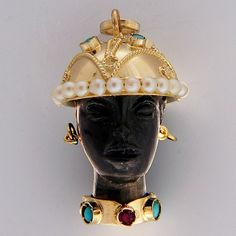 Vintage Blackamoor Gold Turquoise Ruby Pearl Charm
