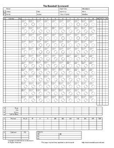 Crazy image in printable baseball scorebook