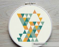 modern cross stitch pattern geometric snowflake von Happinesst