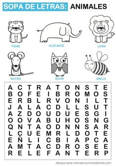 Word search with animals in Spanish. Elementary Spanish, Spanish Classroom, Teaching Spanish, Spanish Worksheets, Spanish Activities, Activities For Kids, Spanish Language, Speech And Language, Catalan Language