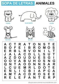 Sopa de letras para niños. Puedes descargarla gratis en: http://dibujos-para-colorear.euroresidentes.com/2013/04/sopa-de-letras-de-animales.html: