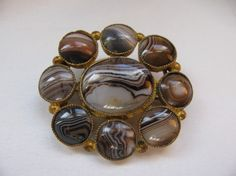 Victorian Brooch Banded Scottish Agate