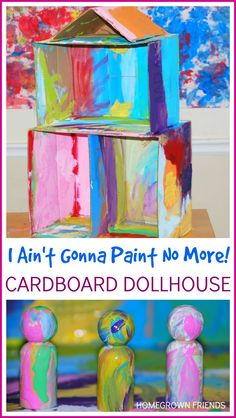 I Ain't Gonna Paint No More Cardboard Dollhouse- exploring books through play with the Preschool Book Club
