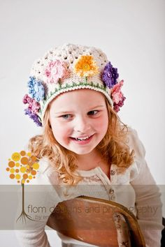 Crochet Pattern for Flower Garden Hat - 5 sizes, baby to adult - Welcome to sell finished items.