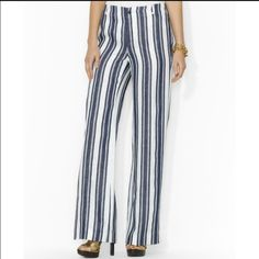 "Lauren Ralph Lauren pants Blue and white wide legged pants. Inseam 31"" waist 28"" Ralph Lauren Pants Wide Leg"