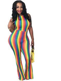 7ac149814ac1 Rainbow Vertical Striped Sleeveless Jumpsuit