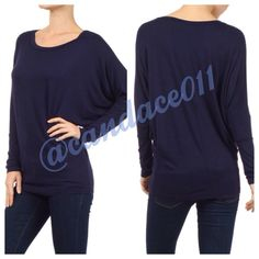Navy Long Sleeved Dolman Top ❇️Bundle to save 15%!❇️ Scoop neckline 95% Polyester, 5% Spandex Loose in the torso. Fitted at the hip. Made in the USA Size Recommendations: (S) 2-4; (M) 6-8; (L) 10-12; (XL) 14-16; (2X) 18-20; (3X) 22-24 Boutique Tops
