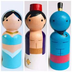 Aladdin and Friends Pre Order! Pre order your favorite Aladdin characters or get the whole set! Will ship in January 2019. Jafar and Abu photos will post soon! 5 Character set includes 1 Aladdin, 1 Genie, 1 Jasmine, 1 Abu and 1 Jafar. Each peg doll is hand painted by me and sealed to Wood Peg Dolls, Clothespin Dolls, Wood Toys, Cork Crafts, Diy And Crafts, Arte Country, Kids Wood, Wooden Pegs, Craft Sale