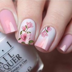 Easy DIY Valentines Nail Designs for Short Nails – Seze Pink Nail Art, Cute Acrylic Nails, Acrylic Nail Designs, Pink Nails, Nail Art Designs, Flower Nail Designs, Floral Nail Art, Nails Design, Nagel Bling