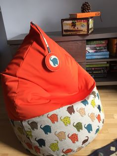 Linen And Cotton Bean Bag Chair Elephants