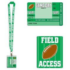 """Game Day Football Party Pass Party Accessory (1 count) (1/Pkg) by Hallmark. $1.16. Ready to Hang. *Amazon.com also available in convent Twelve packs Pkg/12 (search item number)B002VFJ6ZW. Completely Assembled. Ideal for eye-catching displays. For Indoor & Outdoor Use.. Game Day Party Pass has a green lanyard neck strap with white lettering that spells out """"GAME DAY"""". Neck strap measures approximately 36"""" long. Pass is made of plastic that is printed on both sides ..."""