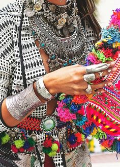 Coachella Fashion Outfit. Lots of accesories, statement necklaces, silver braceletes and big rings. And You See Your Gypsy, part 2   Forever Boho
