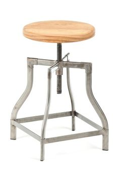 Machinist Stool / Wood Seat can go from counter height to table height