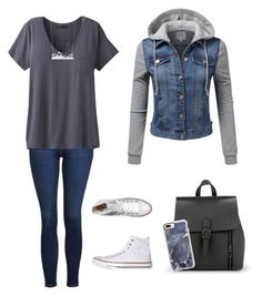 """""""Your Average School Outfit"""" by lila-montalvo on Polyvore featuring Topshop, prAna, Converse and Casetify"""