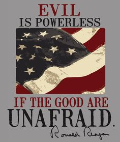 """Evil is powerless if the good are unafraid."" - Ronald Reagan I miss Reagan American Pride, American Flag, American History, American Presidents, American Spirit, I Love America, God Bless America, America America, We Are The World"