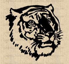 Tiger Silhouette Stencil Wildlife Digital Collage Sheet Image Download Graphics Iron On Transfer Fabric Tote Bags Pillows Tea Towels An157. $1.00, via Etsy.