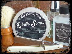 """Lebelle Soaps Woodland, Semogue OC Boar, Meesons Ring 1840 7/8"""" Lebelle Woodland Splash, Guerlain Vetiver EDT."""