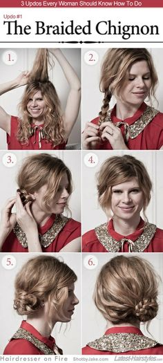 1.Start out by prepping hair; some products for text or adding some curls, a little teasing at the crown for lift.  2.Pull all your hair over to one side  braid it.  3.Coil the braid around itself (like a snail shell)  tuck the end underneath it. Pin in place.  4.Adjust it to your preference by smoothing hairs or pulling down pieces around your face. I pinned my overgrown bangs out of the way, pulled some guys down around my face and called it good!  56. easy right? try it out!
