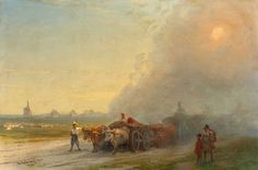 Ox Carts in the Ukrainian steppe, Original Size: 26 x 38,7 cm, Date: 1887. Buy this painting as premium quality canvas art print from Modarty Art Gallery. #art, #canvas, #design, #painting, #print, #poster, #decoration