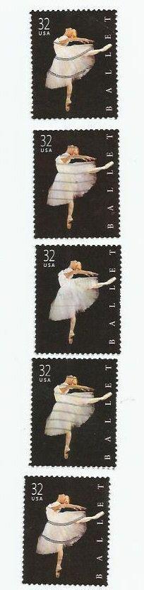 5 Ballet Ballerina Dancer Used Postage by LarkroseInspirations, $1.50
