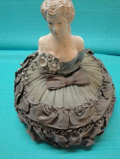 Antique Victorian Madelina Half Doll Pincushion with Antique Pins - Circa early 1900s. $69.99, via Etsy.