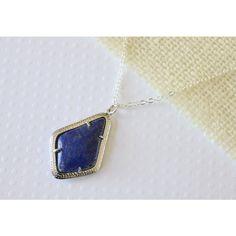 Lapis Lazuli Imitation Pendant, Imitation Stone Necklace, Large... ($26) ❤ liked on Polyvore featuring jewelry, pendants, blue pendant, imitation jewellery, blue glass pendant, blue jewellery and imitation jewelry