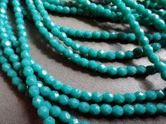 4mm persische Feuer, dunkel Türkis poliert Böhmische Glasperlen - Perlen-Suppe-Perlen