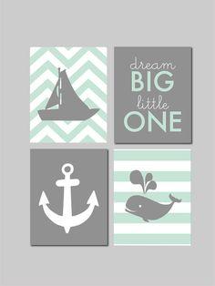 Mint Nursery Decor Nautical Nursery Whale Nursery Art Dream Big Little One by fairplayprintables